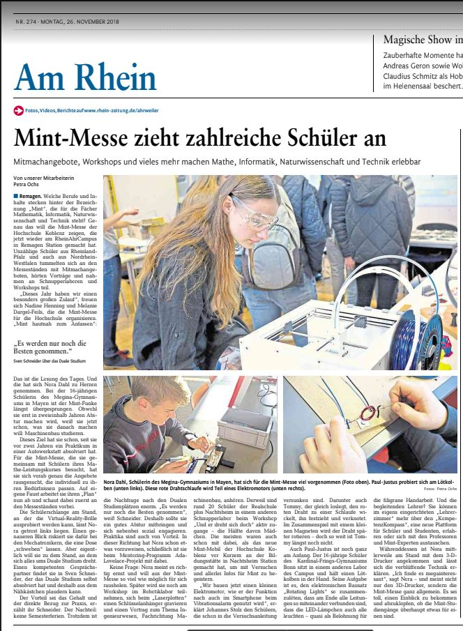 RZ Bericht Mint Messe Remagen 2018